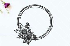 Circle sunflower frame SVG, Wedding invitation frame Product Image 2