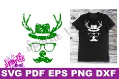 Svg Distressed Grunge Christmas vintage reindeer shirt svg files for cricut or silhouette, Reindeer with glasses red nose mustache hat svg printable Product Image 3