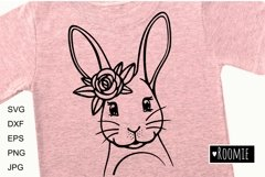 Happy Easter bunny SVG, Rabbit face with flower crown Cricut Product Image 3