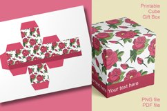 Printable Red Roses Cube Boxes for Small Favors Set of 4 Product Image 1