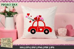 Love Bug Car with Hearts SVG | Valentines Car SVG | Love Car Product Image 4