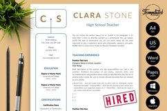 Teacher Resume CV Template for Word & Pages Clara Stone Product Image 1