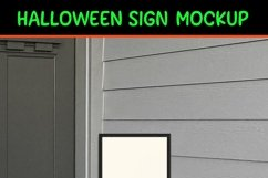 Halloween Porch Sign Mockup, A Vertical Porch Sign Mock-up Product Image 4