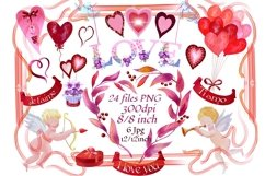 Valentine's watercolor clipart,digital papers Product Image 1