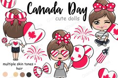 Canada Day CUTE DOLLS Independence Day Patriotic Girl - PNG Product Image 1