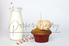 Cookie dough Cupcake Topper, Glass Milk Mock up with Straws Product Image 2