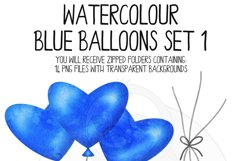 Blue Watercolor Balloon Clipart Set Product Image 5