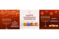 Hanukkah banner set, realistic style Product Image 1