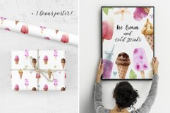 Watercolor Ice Cream and Cold Drinks. Seamless Patterns Product Image 4