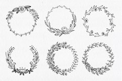30 Hand drawn floral wreath. Simple line drawing. Product Image 2