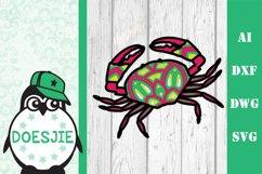 Layered Crab SVG multi layer mandala sea animal nautical 3d Product Image 4