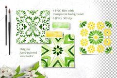 Spring Tiles Green Watercolor Clipart Set1 Product Image 2