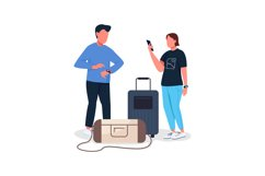 Couple waiting for flight flat color vector characters Product Image 1
