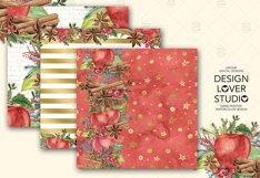 Watercolor Apple Cinnamon digital paper pack Product Image 2