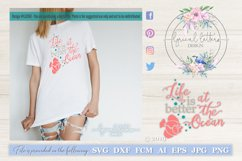 Life Is Better At The Ocean with Fish SVG DXF LL034E Product Image 1