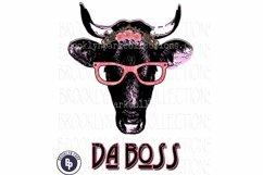 Da Boss, Cow, Heifer, glasses, Art, Print, Sublimation PNG Product Image 1