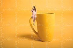 Creative surrealism design with miniature people. Girl cup Product Image 1