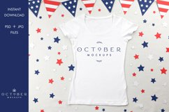 Independence Day Mockup Womens T-Shirt in PSD and JPG Product Image 1