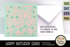 Floral Happy Birthday Card SVG - Birthday Card Cutting Files Product Image 6