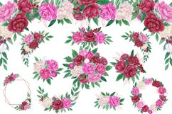Watercolor peonies.Floral clipart.Pink,burgundy,white peony Product Image 2
