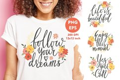 Motivational quotes. Inspirational quotes PNG. Cute phrases. Product Image 1