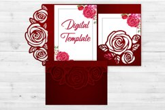 Rose wedding invitation template, Svg files for cricut Product Image 2