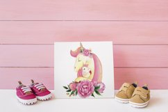 Watercolor Unicorn Head with Flowers PNG Sublimation Clipart Product Image 3