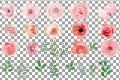 Blush watercolor floral wedding clip art, pink flowers leafs Product Image 3