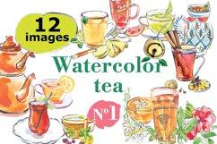 Watercolor tea vector set Product Image 1