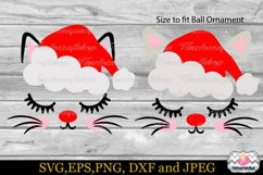 Christmas Kitty Eyelashes Santa hat, Christmas Cat Ornament Product Image 3