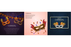 Carnival mask banner concept set, realistic style Product Image 1