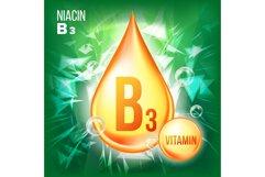 Vitamin B3 Niacin Vector. Gold Oil Drop Icon. Organic Gold Product Image 1