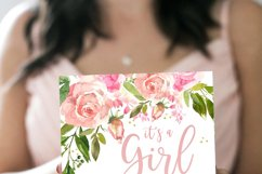 Invitation Blush Pink Floral Baby Shower Its a girl Product Image 2