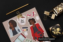 Fashion clipart, African american Boss girl clipart PNG Product Image 3
