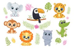 Cute Zoo Animals Clipart PNG, EPS, JPG Product Image 1