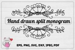 Flower monogram SVG, Split Monogram SVG, Fall SVG , Product Image 1