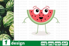 FUNNY WATERMELON FACE SVG, fruits svg, fruit clipart, melon Product Image 1