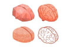 Brain thinking concept background, isometric style Product Image 1