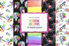 Rainbow unicorns digital paper pack Product Image 1