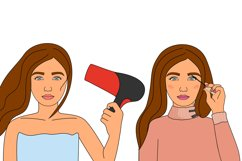Cosmetics bundle clipart, make up and skincare eps, png. Product Image 6