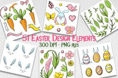 Hand drawn Easter design elements png set Product Image 1