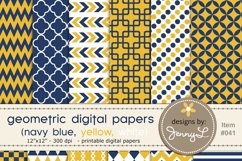 Navy and Yellow Geometric Digital Papers Product Image 1