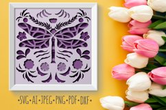 Papercut 3D Dragonfly Flowers Layered Design Product Image 1