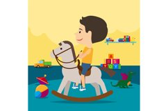 Boy riding toy horse in kindergarten Product Image 1