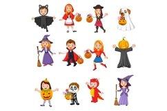 Set of twelve Cartoon Halloween Kids Character Product Image 1