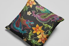 Embroidery style asian dragon and flowers Product Image 3