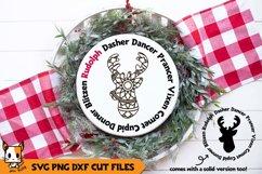 Christmas Mandala SVG | Reindeer Names | Wood Rounds Product Image 1