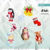 Cute Watercolor characters clipart, Christmas Clipart Product Image 3