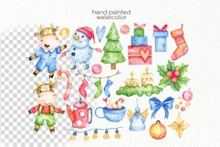 Watercolor Christmas Bulls Clipart - PNG Files Product Image 2