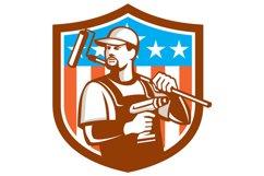 Handyman Cordless Drill Paintroller Crest Flag Retro Product Image 1